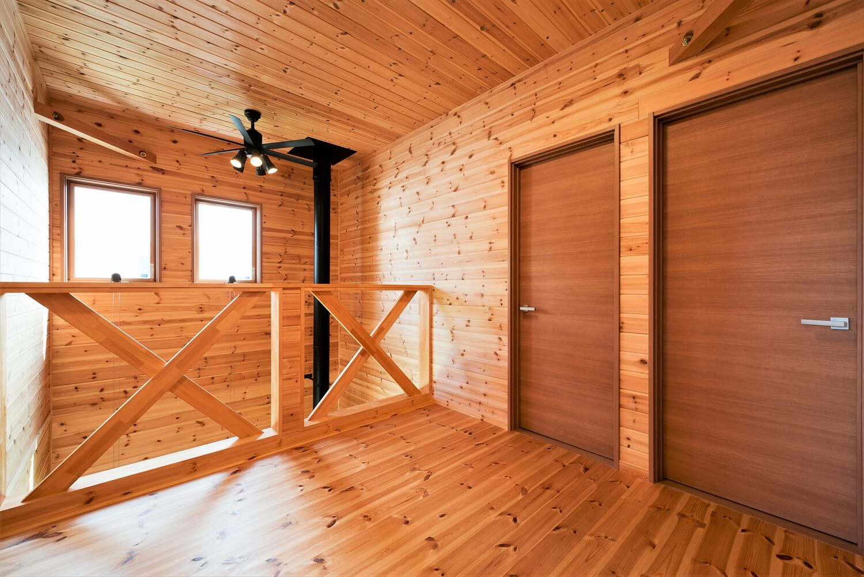 薪ストーブ付きログハウス風,二階建ての二階フロア|つくば市の注文住宅,ログハウスのような木の家を低価格で建てるならエイ・ワン