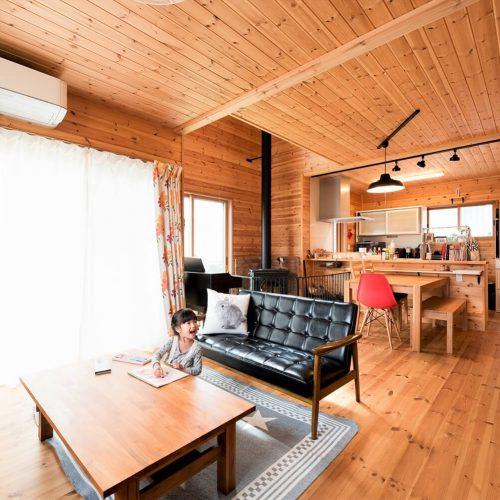 つくば市の二階建て|薪ストーブ付きログハウス風住宅