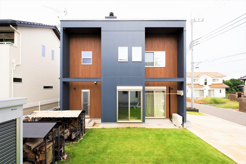 薪ストーブ付きログハウス風,二階建ての外観2|つくば市の注文住宅,ログハウスのような木の家を低価格で建てるならエイ・ワン