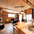 薪ストーブ付きログハウス風,二階建てのキッチン|つくば市の注文住宅,ログハウスのような木の家を低価格で建てるならエイ・ワン