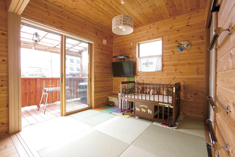 アイランドキッチンのあるログハウス風二階建ての子供部屋|つくば市の注文住宅,ログハウスのような低価格住宅を建てるならエイ・ワン