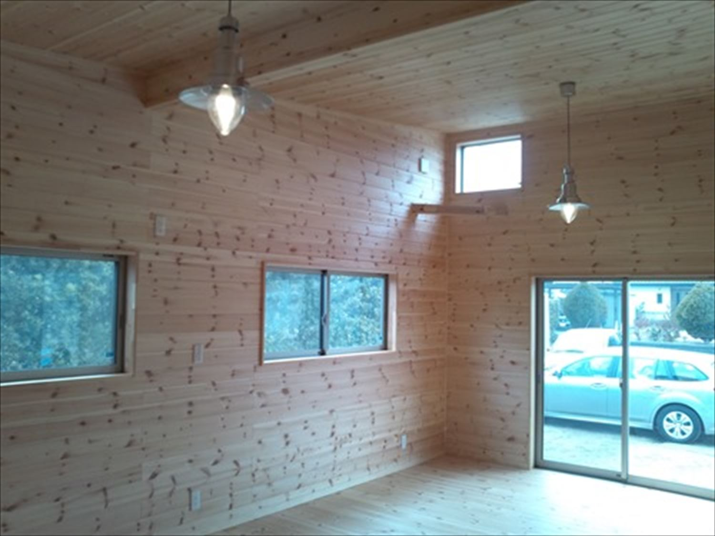 オープンスペースの平屋の内装3|一宮町の注文住宅,ログハウスのような木の家を低価格で建てるならエイ・ワン