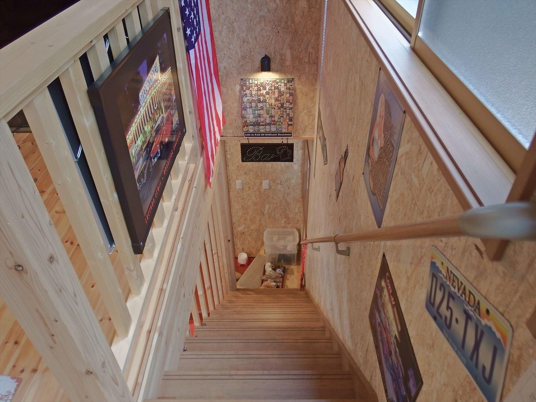 ドッグカフェ店舗住宅の階段|那須塩原の注文住宅,ログハウスのような木の家を低価格で建てるならエイ・ワン