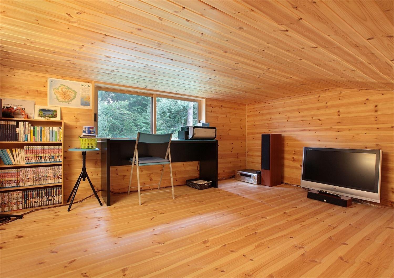 家族で暮らすナチュラルテイストの平屋のロフト|かすみがうら市の注文住宅,ログハウスのような木の家を低価格で建てるならエイ・ワン