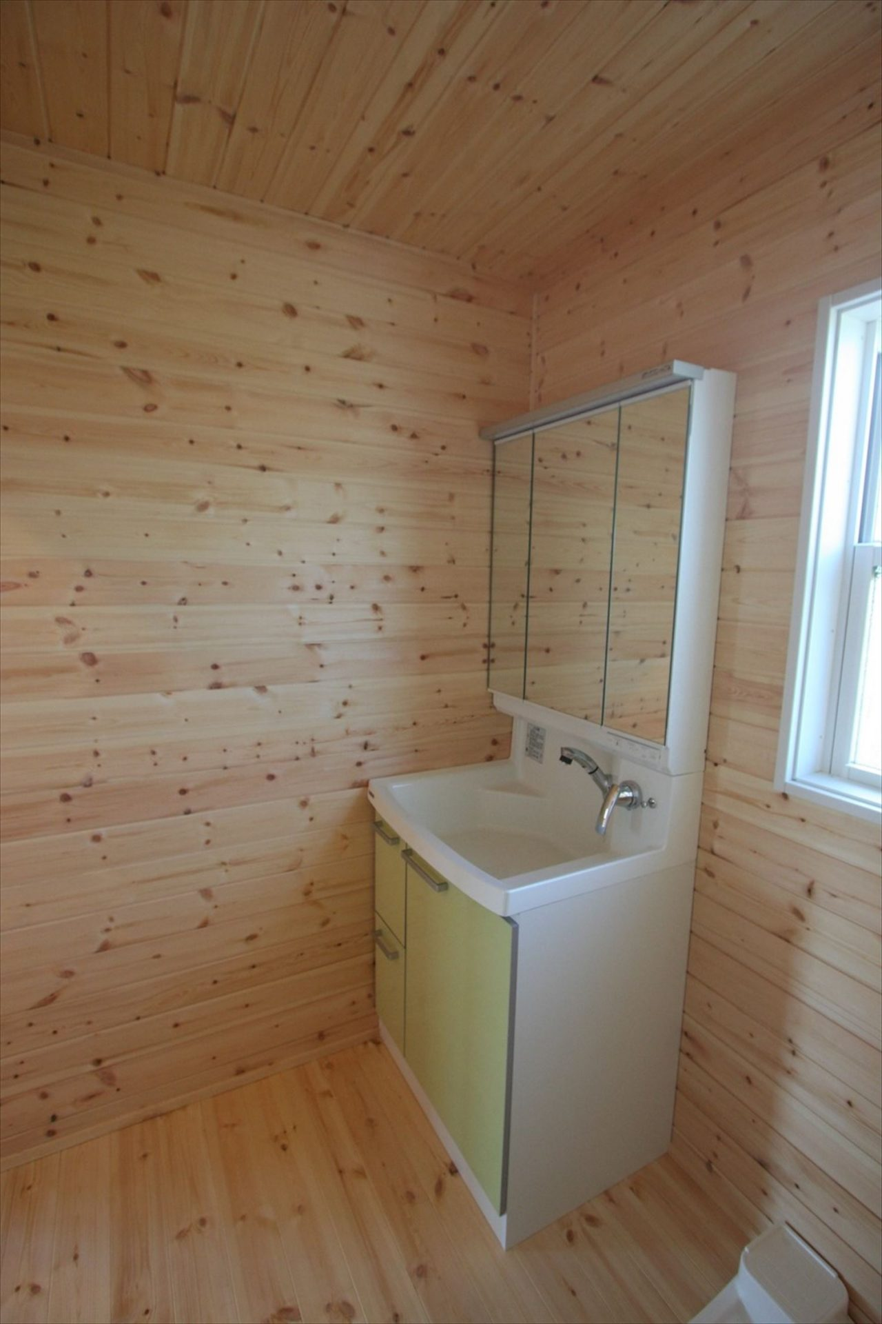 ドッグランのある3LDK平屋の洗面台|群馬県の注文住宅,ログハウスのような木の家を低価格で建てるならエイ・ワン