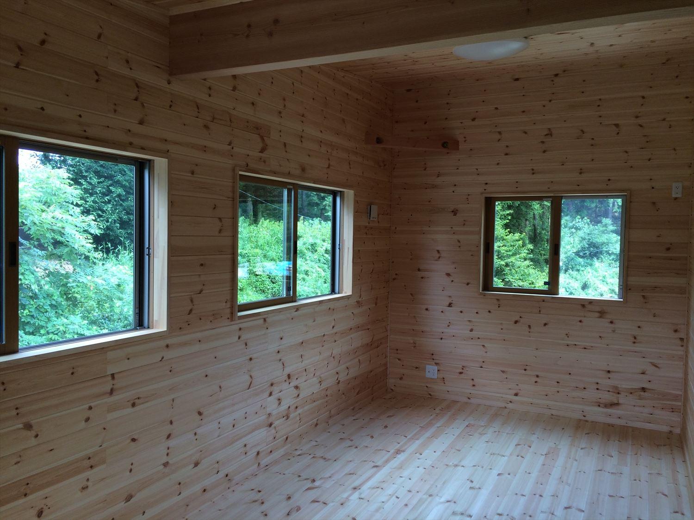 オールアース二階建ての洋室|石岡市の注文住宅,ログハウスのような木の家を低価格で建てるならエイ・ワン