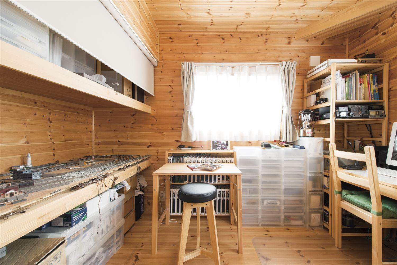 ログハウス風住宅の書斎