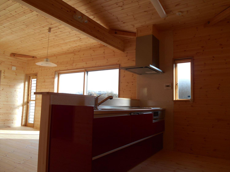 蓄電池付き省エネ住宅平屋のキッチン|石岡市の注文住宅,ログハウスのような木の家を低価格で建てるならエイ・ワン