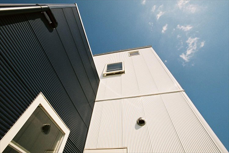 ガルバリウム外壁の二階建ての外観7|石岡市の注文住宅,ログハウスのような木の家を低価格で建てるならエイ・ワン
