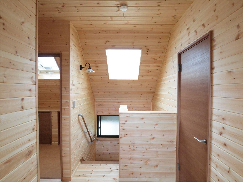 ログハウス風デザイン二階建てのホール|つくば市の注文住宅,ログハウスのような木の家を低価格で建てるならエイ・ワン