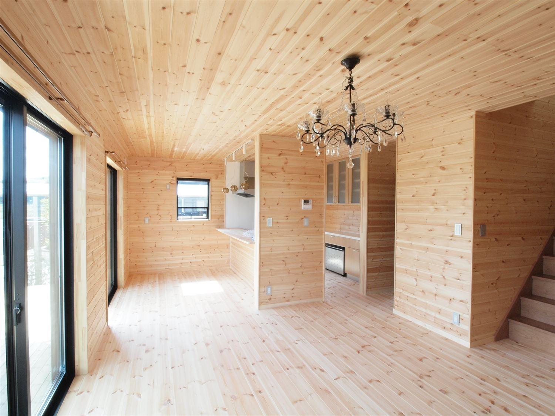 ログハウス風デザイン二階建ての内装|つくば市の注文住宅,ログハウスのような木の家を低価格で建てるならエイ・ワン