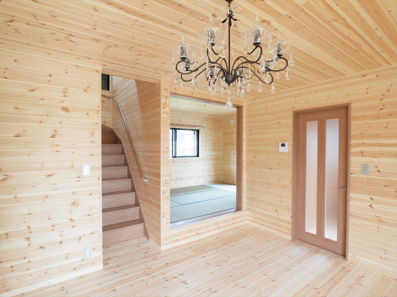 ログハウス風デザイン二階建ての内装2|つくば市の注文住宅,ログハウスのような木の家を低価格で建てるならエイ・ワン