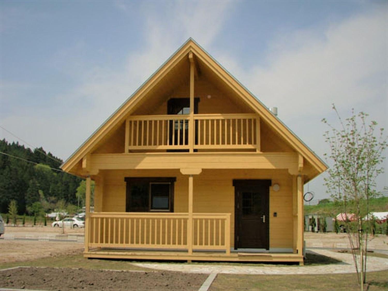 ログハウス風の平屋住宅