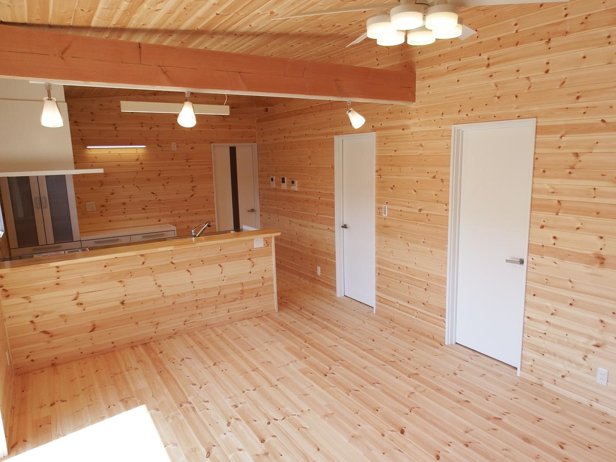 3LDK間取りの平屋のリビング2|栃木県鹿沼市の注文住宅,ログハウスのような木の家を低価格で建てるならエイ・ワン