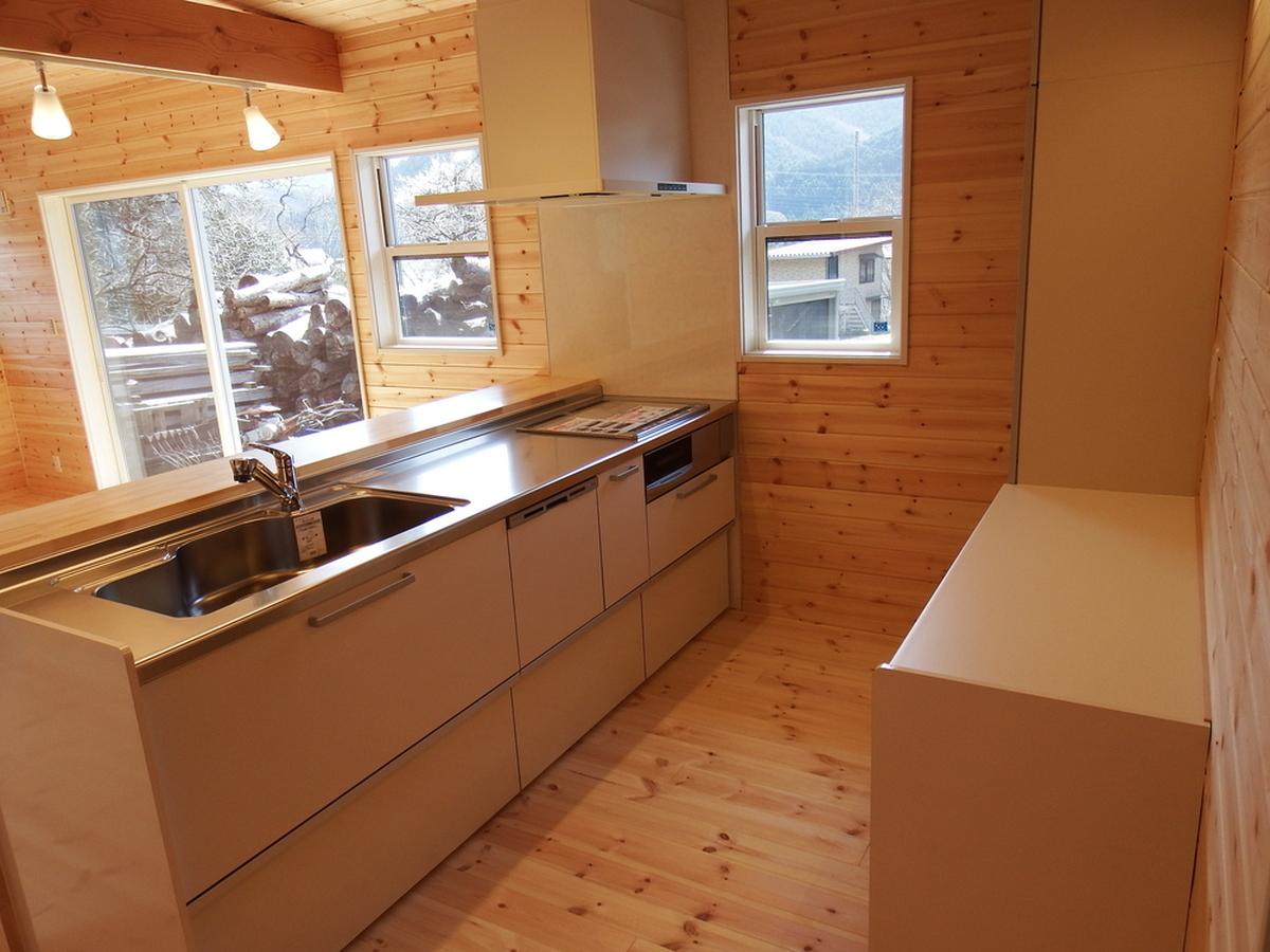 3LDK間取りの平屋のキッチン|栃木県鹿沼市の注文住宅,ログハウスのような木の家を低価格で建てるならエイ・ワン
