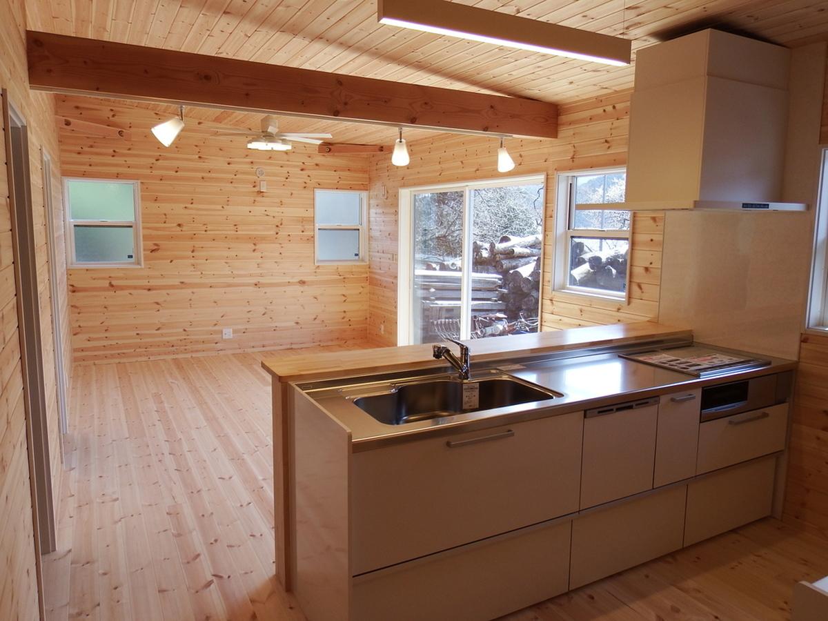 3LDK間取りの平屋のオープンキッチン|栃木県鹿沼市の注文住宅,ログハウスのような木の家を低価格で建てるならエイ・ワン