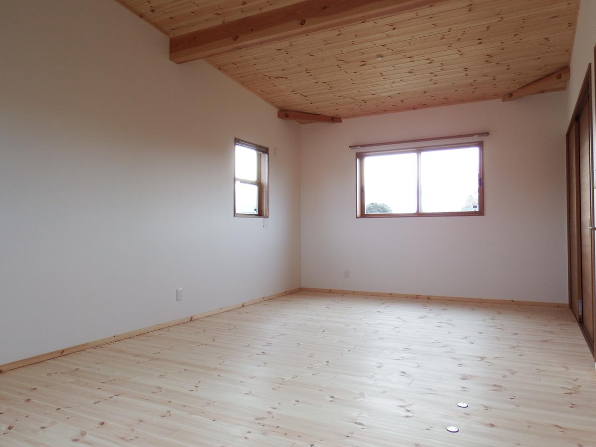 シンプルモダン住宅の洋室|行方市の注文住宅,ログハウスのような木の家を低価格で建てるならエイ・ワン