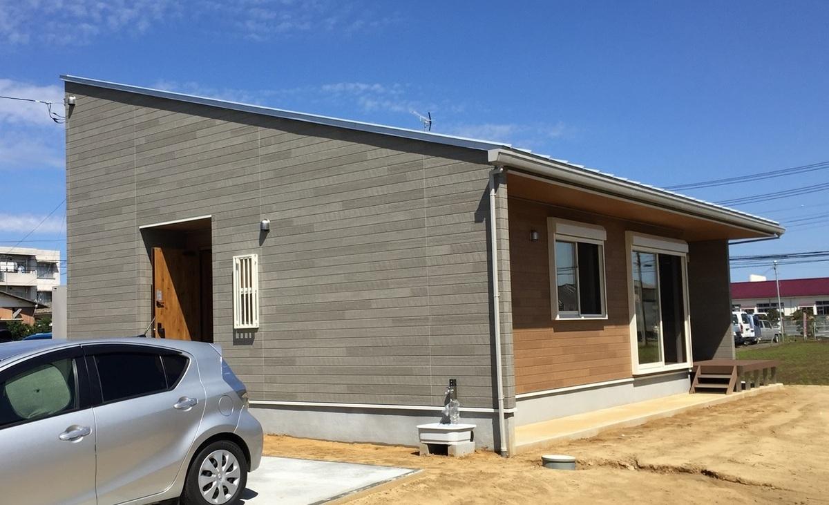 無垢材平屋の外観2|石岡市の注文住宅,ログハウスのような木の家を低価格で建てるならエイ・ワン
