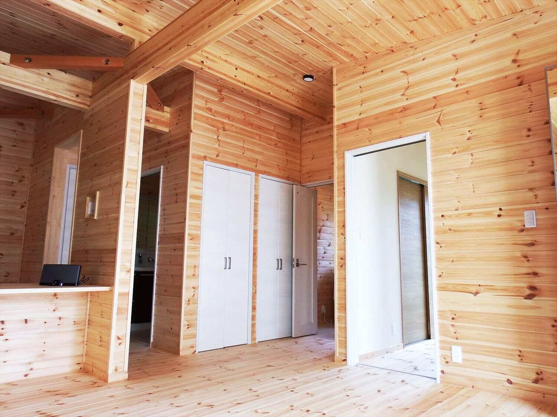夫婦で暮らす無垢材に囲まれた住宅の収納|埼玉県鴻巣市の注文住宅,ログハウスのような木の家を低価格で建てるならエイ・ワン