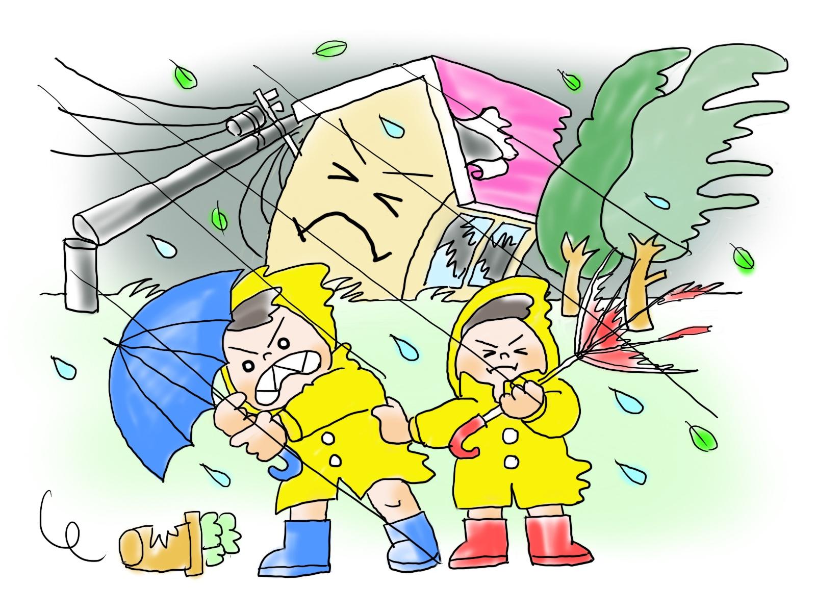 台風など雨風が強いときに窓を守るシャッターの必要性。