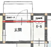 玄関ホールの収納の図面