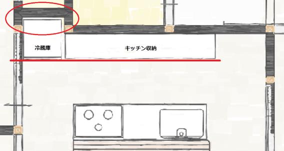 リビングの壁の一部を押し込みにした図面