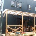 カフェ店舗兼二階建て住宅のテラス|行方市の注文住宅,ログハウスのような低価格住宅を建てるならエイ・ワン