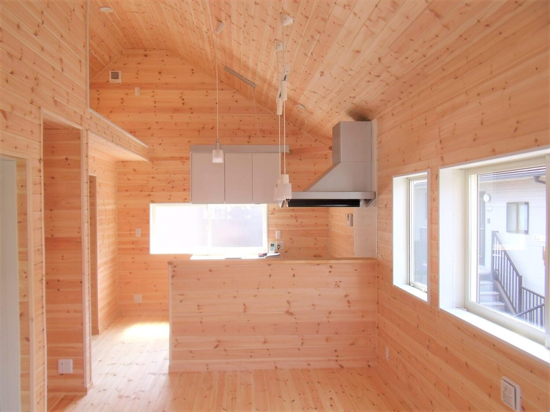 エレベーター付き二階建てのキッチン 大田区の注文住宅,ログハウスのような低価格住宅を建てるならエイ・ワン