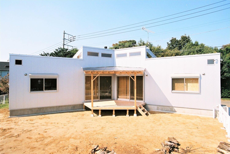 薪ストーブのあるユニークな平屋の外観|石岡市の注文住宅,ログハウスのような低価格住宅を建てるならエイ・ワン