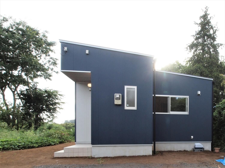 ブルーサイディングの平屋の外観横|牛久市の注文住宅,ログハウスのような低価格住宅を建てるならエイ・ワン