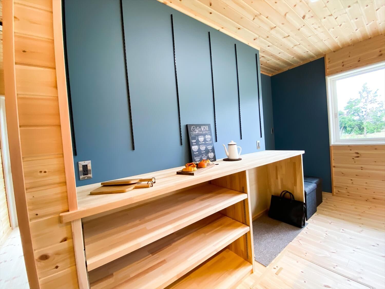 趣味を楽しむ平屋のキッチン収納|古河市の注文住宅,ログハウスのような木の家を低価格で建てるならエイ・ワン