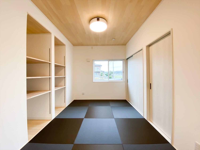 ヒバ無垢材を使った二階建ての和室|行方市の注文住宅,ログハウスのような木の家を低価格で建てるならエイ・ワン