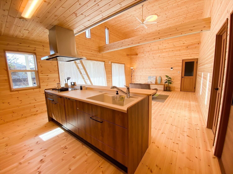 カリフォルニア風サーファーズハウスの平屋のキッチン2|つくばみらい市の注文住宅,ログハウスのような木の家を低価格で建てるならエイ・ワン