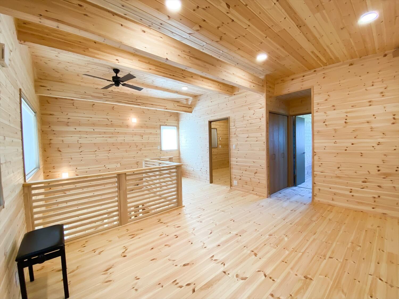 薪ストーブと暮らすログハウス風二階建てのホール|利根町の注文住宅,ログハウスのような木の家を低価格で建てるならエイ・ワン