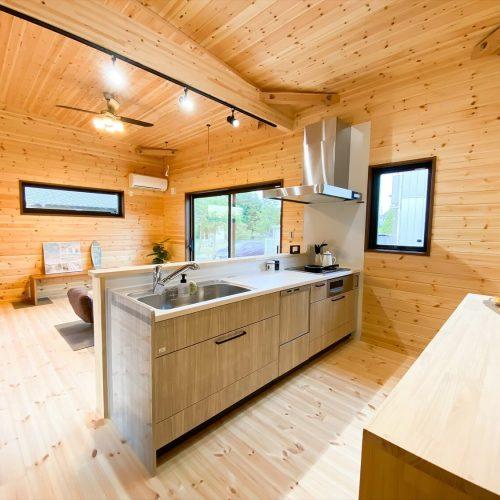 取手市の平屋|両開き玄関ドア+広々土間スペースのログハウス風平屋